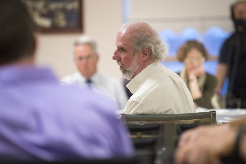 Jim Wood, center, transportation development coordinator for KVCAP, answers questions Tuesday during a budget workshop at the City Council Chambers at The Center in Waterville.