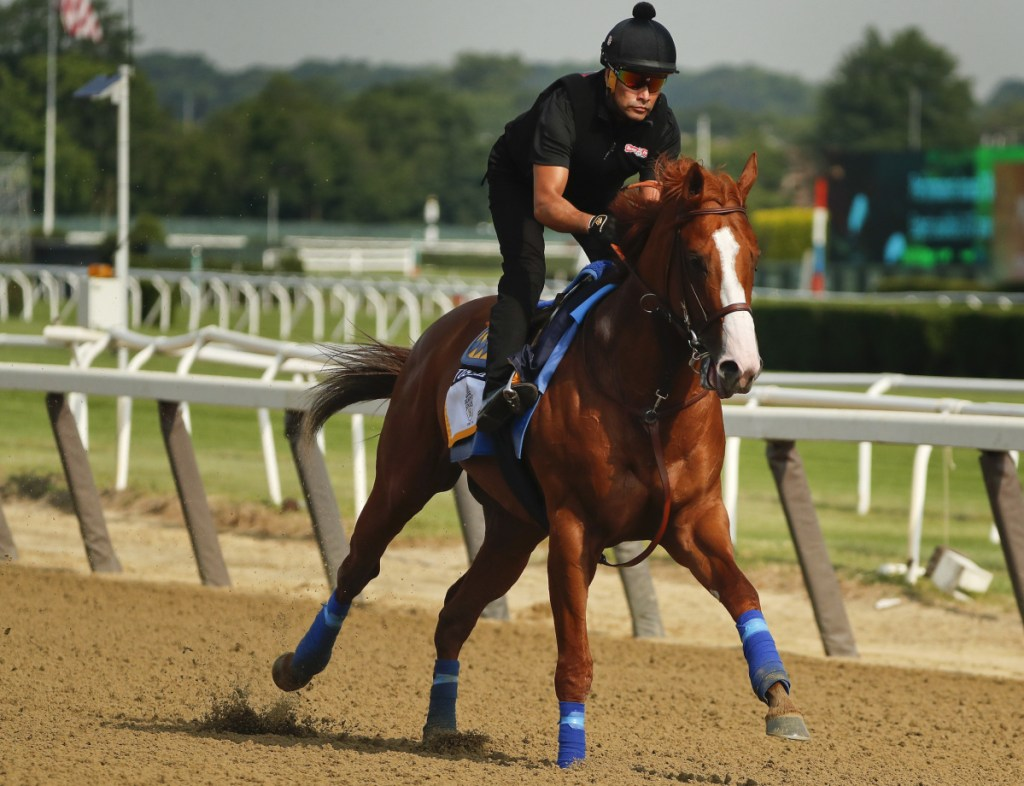 Triple Crown hopeful Justify gallops around the main track during a workout Friday at Belmont Park in Elmont, New York. Justify will attempt to become the 13th Triple Crown winner when he races in the 150th running of the Belmont Stakes on Saturday.