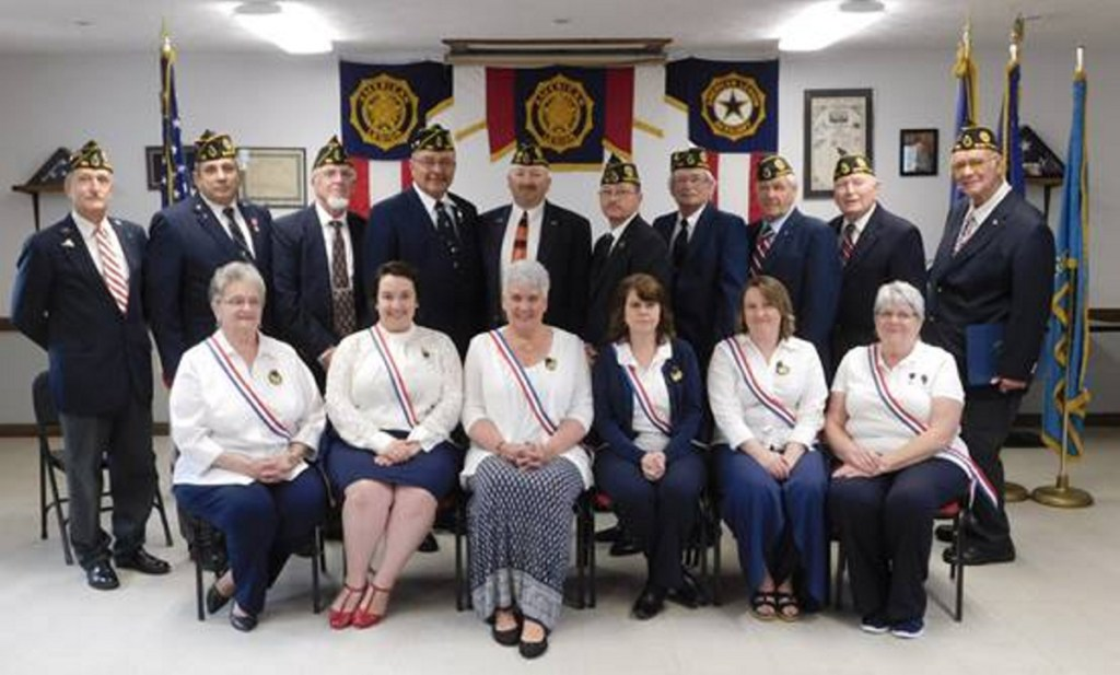 2018-19 Unit 135 Auxiliary Officers, front from left are Joan Fournier, sergeant at arms; Jennifer Caron, first vice president; Denise Michaud, president; Debra Devoe, chaplain; Cheryl Shearer, second vice president; and Teresa Bradford, secretary/treasurer). 2018-2019 Post 135 Legion Officers, back from left are Jim Rancourt, adjutant; Amedeo Lauria, service officer; Anthony Culpovich, finance officer; Donald Caron, first vice commander; Joseph Michaud, commander; David Devoe, chaplain; Harvey Moses, sergeant-at-arms; Joe Tetreault, second vice commander; Gordon Smith, historian; and Dominic Santomango, Americanism officer.