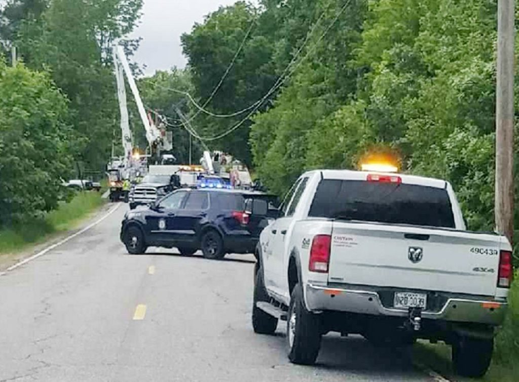 A truck hit a utility pole Thursday afternoon at this site near 190 Winthrop Center Road in Winthrop, after which the driver fled the area, police said.