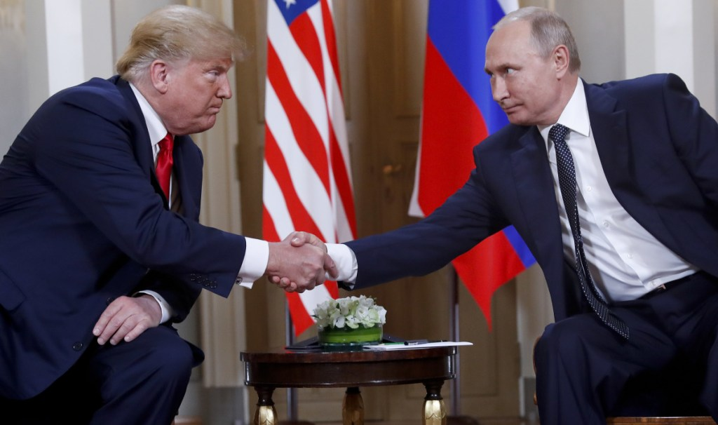 President Trump and Russian President Vladimir Putin shake hands at the beginning of a meeting at the Presidential Palace in Helsinki, Finland. Trump and Putin might have reached several agreements at their summit in Finland this week. Or, they may not have.