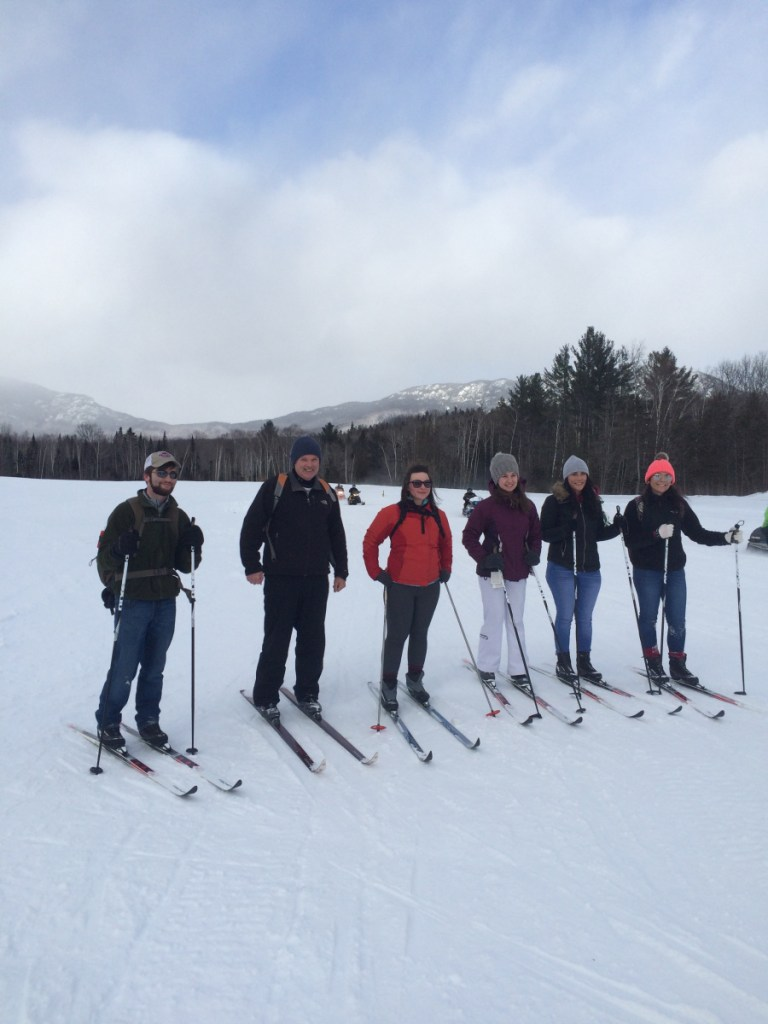 Jim Toner, second from left, takes part in a ski trip. Toner was the director of the University of Maine at Farmington's Fitness and Recreation Center and founded the university's outdoor recreation program before he died from cancer Monday.