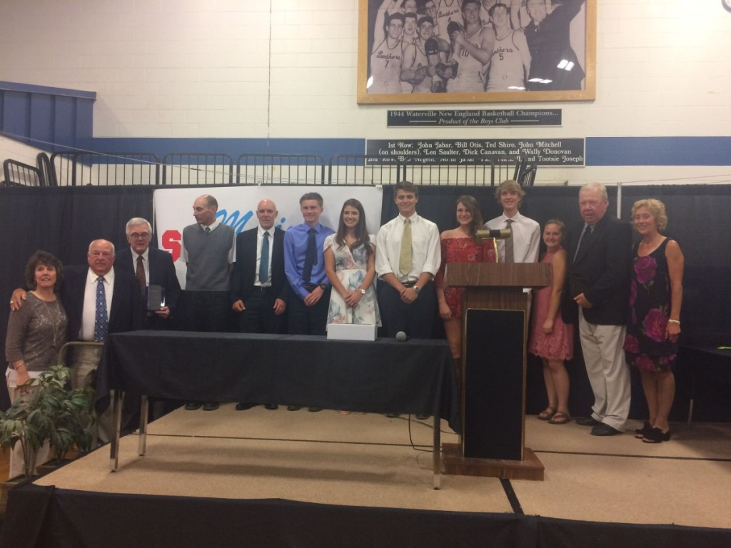 "Maine Sports Legends honored six student athletes and seven inductees into its Legends' Hall of Honors on June 24 at the Alfond Youth Center in Waterville. The student athletes included Kiera-Caley Young, Soren Nyhus, Gabrielle Marquis, Evan Desmond, Gilleyanne Davis-Oakes and Connor DiAngelo. The Hall of Honors inductees included Donna Russo, Carl ""Stump"" Merrill, Mark Rossignol, John Habeeb, Richard Cormier, posthumous; Paul Soucy and Bernard ""Mac"" MacKenzie, posthumous. From left, are Beth Cormier, who accepted for her father, Richard Cormier; Merrill, Ken Mackenzie, who accepted for his father, Mac MacKenzie; Habeeb, Rossignol, Desmond, Marquis, DiAngelo, Davis-Oakes, Nyhus, Young, Paul Soucy and Russo."