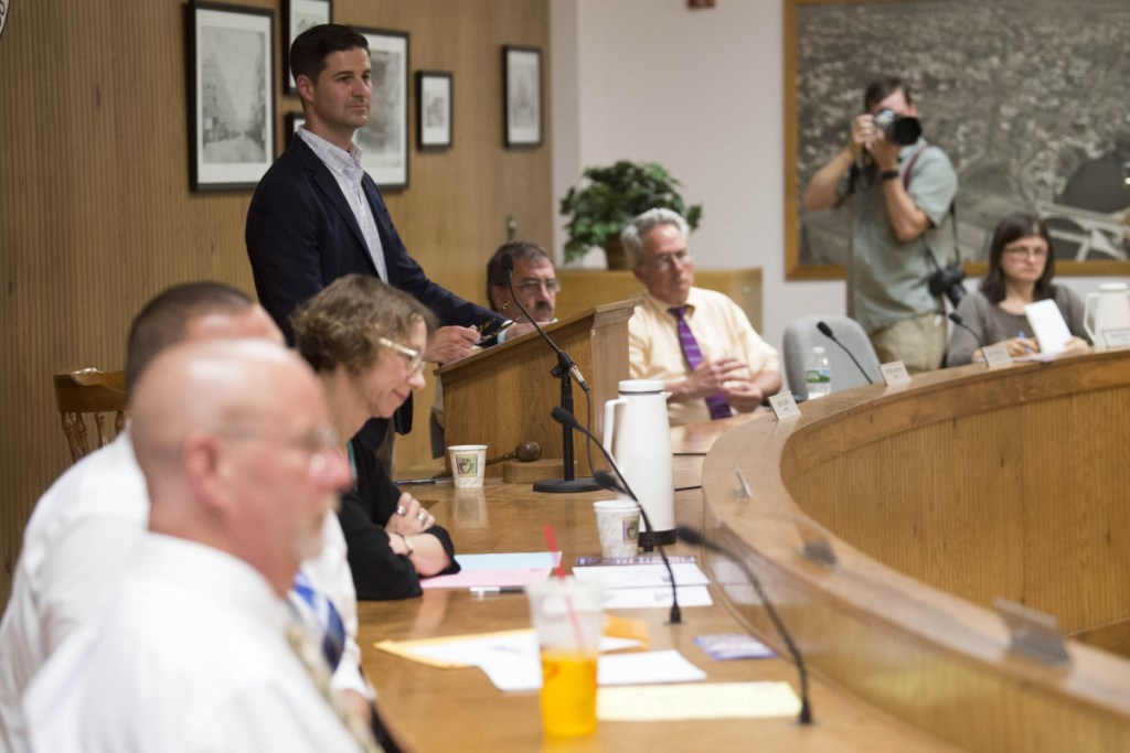 A petition to repeal the $41.9 million city budget passed by the Waterville City Council and vetoed by Mayor Nick Isgro, standing at left at a recent council meeting, failed on Tuesday to gather enough signatures to force a reopening of budget deliberations. The effort fell far short of the 857 required, garnering only 268.