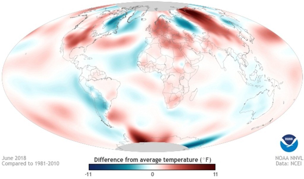 A graphic from the National Oceanic and Atmospheric Administration shows global difference in temperature in June 2018 compared to 1981 through 2010.
