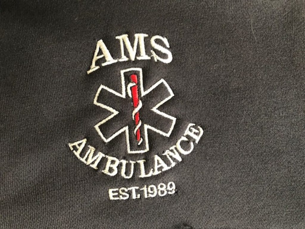 The logo for the Anson-Madison-Starks Ambulance Service.