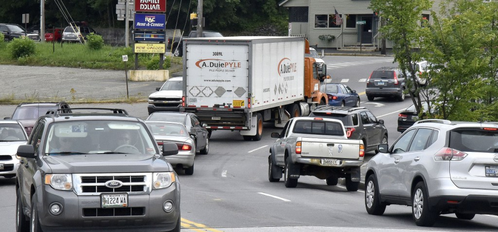 Traffic slowly moves in both directions Tuesday afternoon on the crowded Margaret Chase Smith bridge near the Main Street and Waterville Road intersection in Skowhegan.