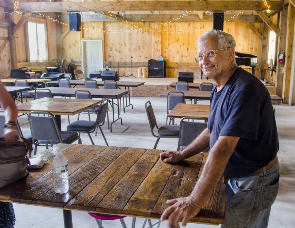 Bob Bittar talks about plans for music in his barn on Aug. 9 in Readfield.