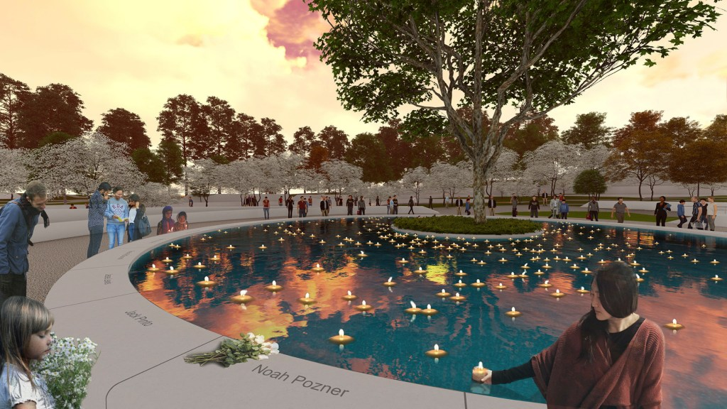 This image provided by the Sandy Hook Permanent Memorial Commission on Wednesday shows the design for a permanent memorial to honor the 26 people killed in the 2012 shooting at the Sandy Hook Elementary School in Newtown, Conn.