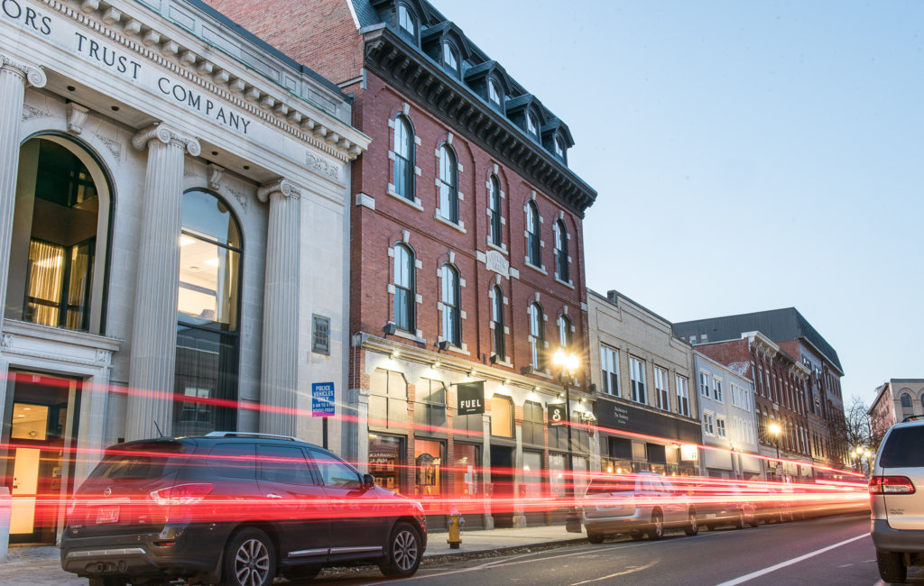 The brick Lyceum Hall building that houses Fuel restaurant on Lisbon Street in Lewiston is one of several high-profile historic buildings in the city that were redeveloped with the use of the federal historic tax credit.