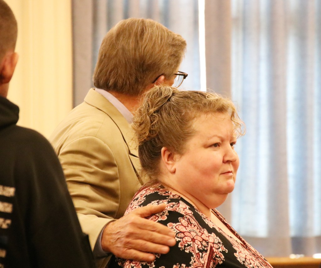 Kandee Collind of Acton pleaded guilty Monday in York County Superior Court to the February 2017 stabbing death of her former husband, Scott Weyland. At left is her attorney, Clifford Strike.