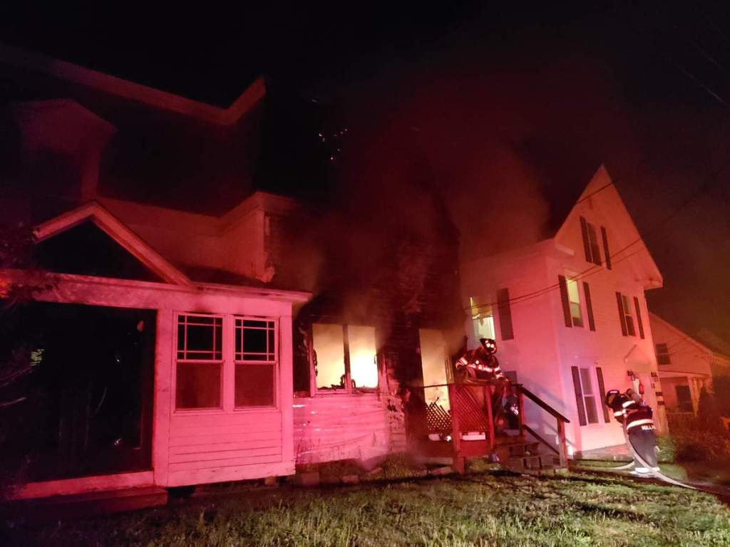 Rockland and neighboring fire departments battled a house fire on Suffolk Street in Rockland.
