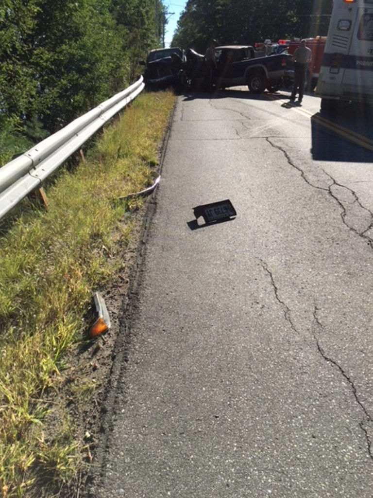 Two men were injured in a three-vehicle crash Thursday afternoon on River Road in Norridgewock.