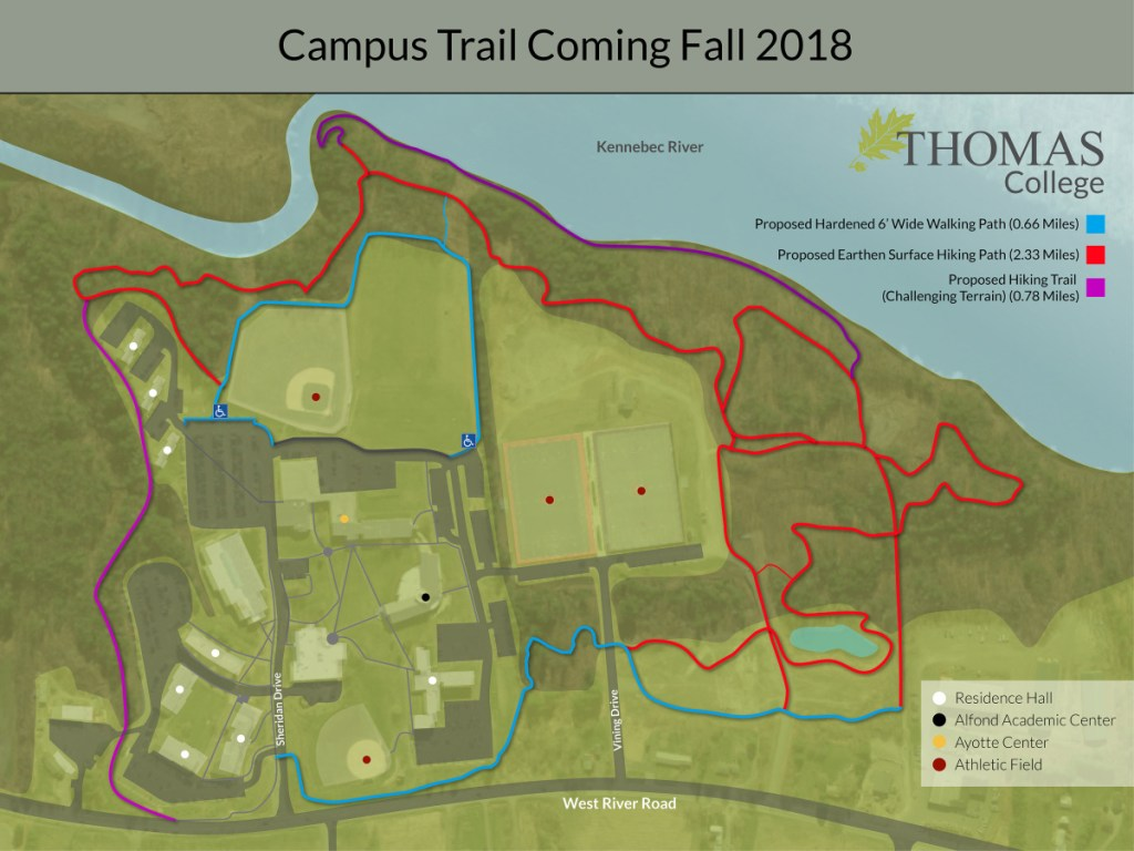 A map of the new trail system at Thomas College, now open to the public.