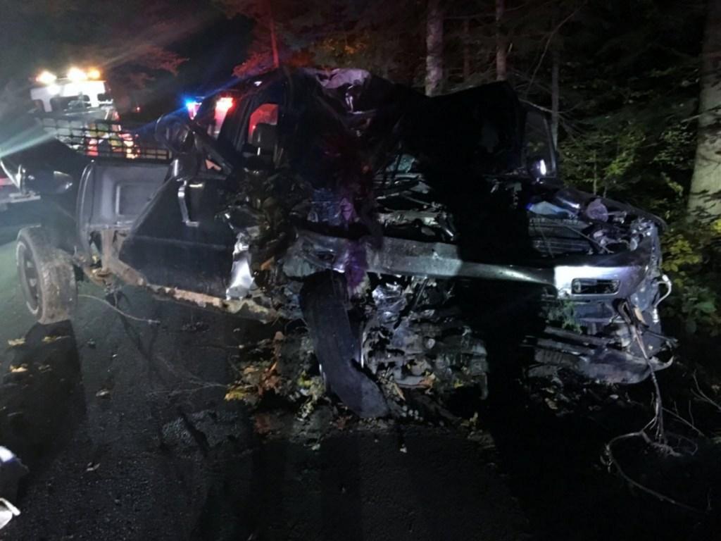 A man was seriously injured on Sunday night after the pickup truck he was driving on East Jay Road left the road and struck a tree in Jay, police Sgt. Russell Adams said Monday.
