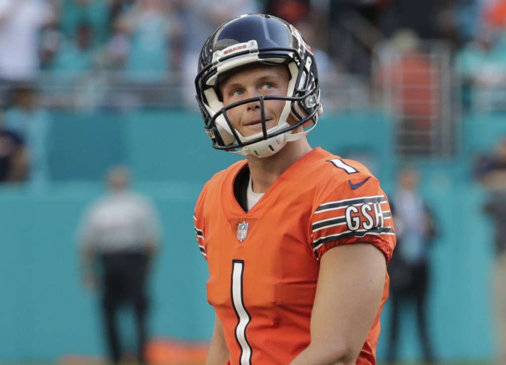Cody Parkey of the Chicago Bears missed an overtime field goal Sunday – just one of the problems in a loss at Miami. The Bears meet the Patriots next.
