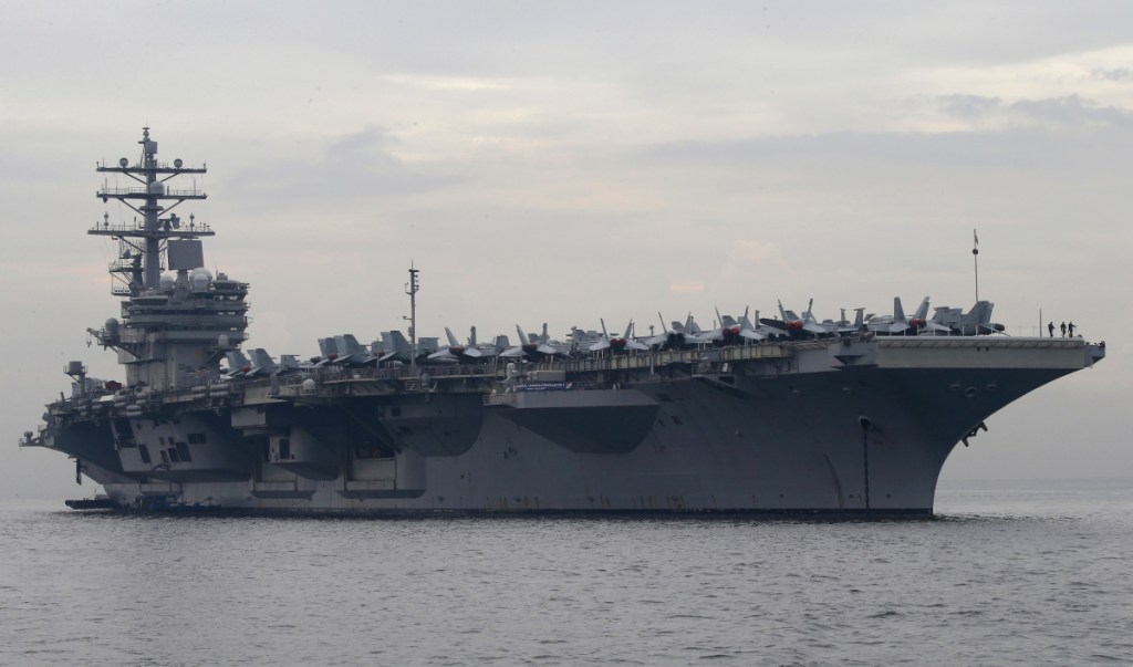 The U.S. aircraft carrier USS Ronald Reagan anchors off Manila Bay, Philippines in June.