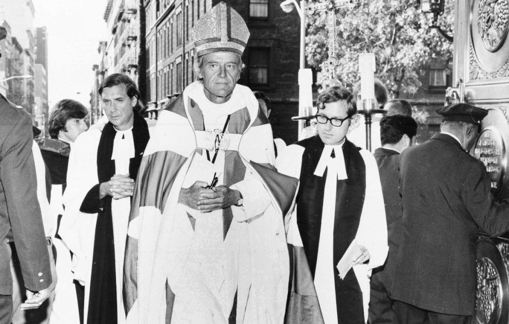 The Right Rev. Paul Moore Jr. arrives at the Cathedral of St. John the Divine in New York City on Sept. 23, 1972, to be installed as the 13th Episcopal bishop of New York.