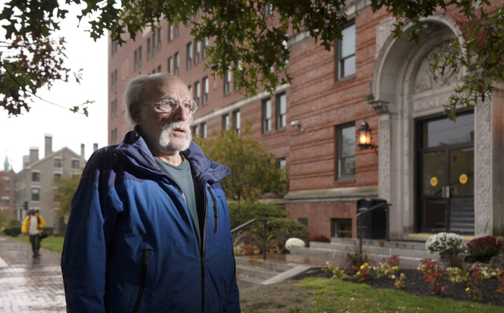 M. Curt Sachs poses for a photo outside Mercy Hospital on State Street in Portland last week. Sachs has submitted a proposal to convert Mercy Hospital into a homeless shelter and neighborhood health clinic.