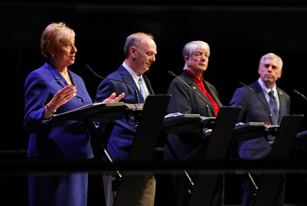 Maine's candidates for governor, seen at a debate Oct. 17 in Augusta, were back at it Thursday night, just 12 days before the election. From left are Democrat Janet Mills, independents Alan Caron and Terry Hayes, and Republican Shawn Moody.