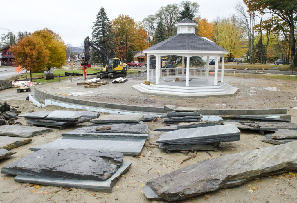 This photo taken Friday shows the new gazebo in Belgrade Lakes village.