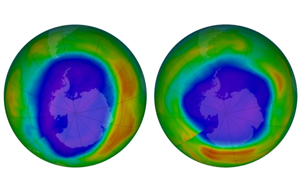 This combination of images made available by NASA shows areas of low ozone above Antarctica on September 2000, left, and September 2018. The purple and blue colors are where there is the least ozone, and the yellows and reds are where there is more ozone. A United Nations report released on Monday, Nov. 5, 2018 says Earth's protective ozone layer is finally healing after aerosol sprays and coolants ate away at it.