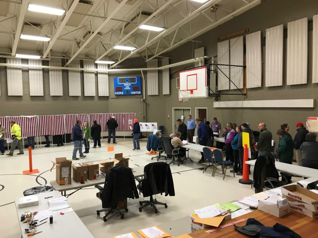 """Fairfield Town Clerk Christine Keller said voting was """"nonstop"""" Tuesday at the Fairfield Community Center."""