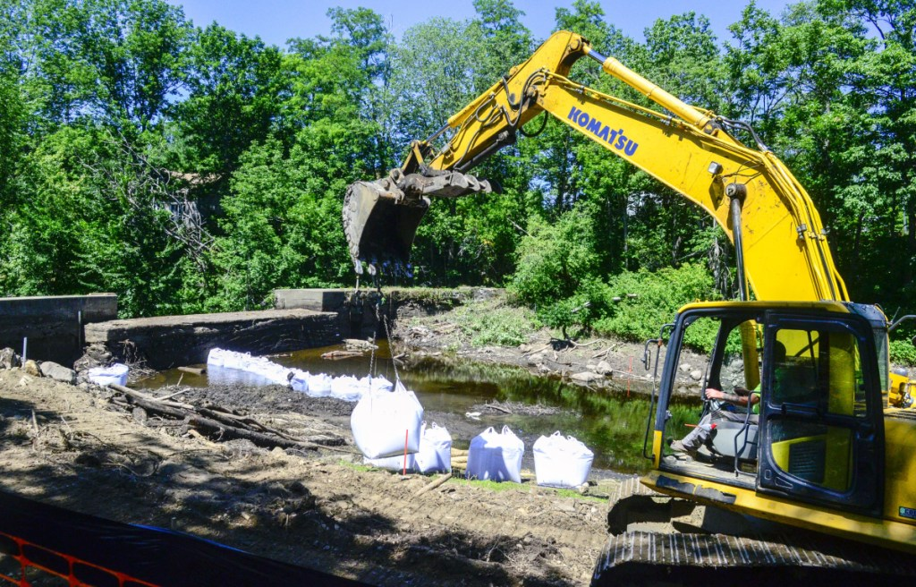 This July 19 photo shows the dam on Sheepscot River in the Coopers Mills section of Whitefield. Workers were starting to dismantle the dam then.