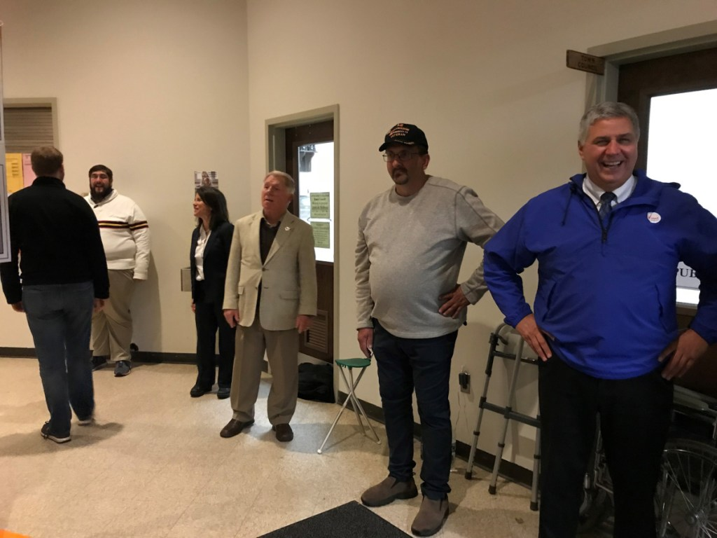 Republican Sen. Scott Cyrway, right, at the Fairfield Community Center on Election Day, edged out Democrat Karen Kusiak by 165 votes in the Senate District 16 election. As of Thursday, Kusiak had not decided whether to ask for a recount.