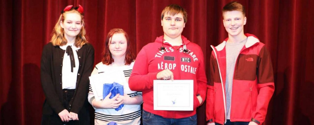 Messalonskee High School October Students of the Month from left are Grace Carlson, Mikayla Dalbeck, Joe Fougere and Luke Buck.