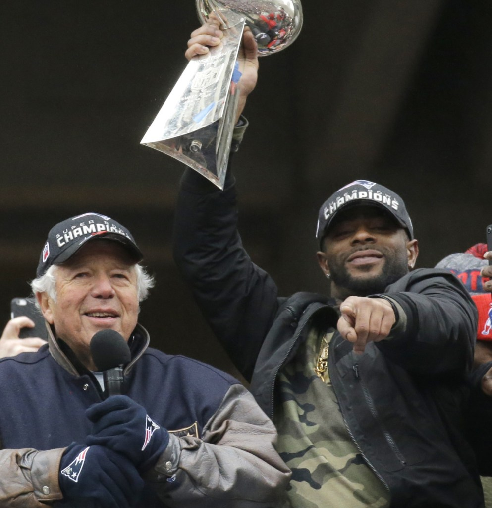 Malcolm Butler, right, got to hoist two Super Bowl trophies with the Patriots, but was benched last February in his third trip to the big game. And he just hasn't been the same since signing with the Tennessee Titans.