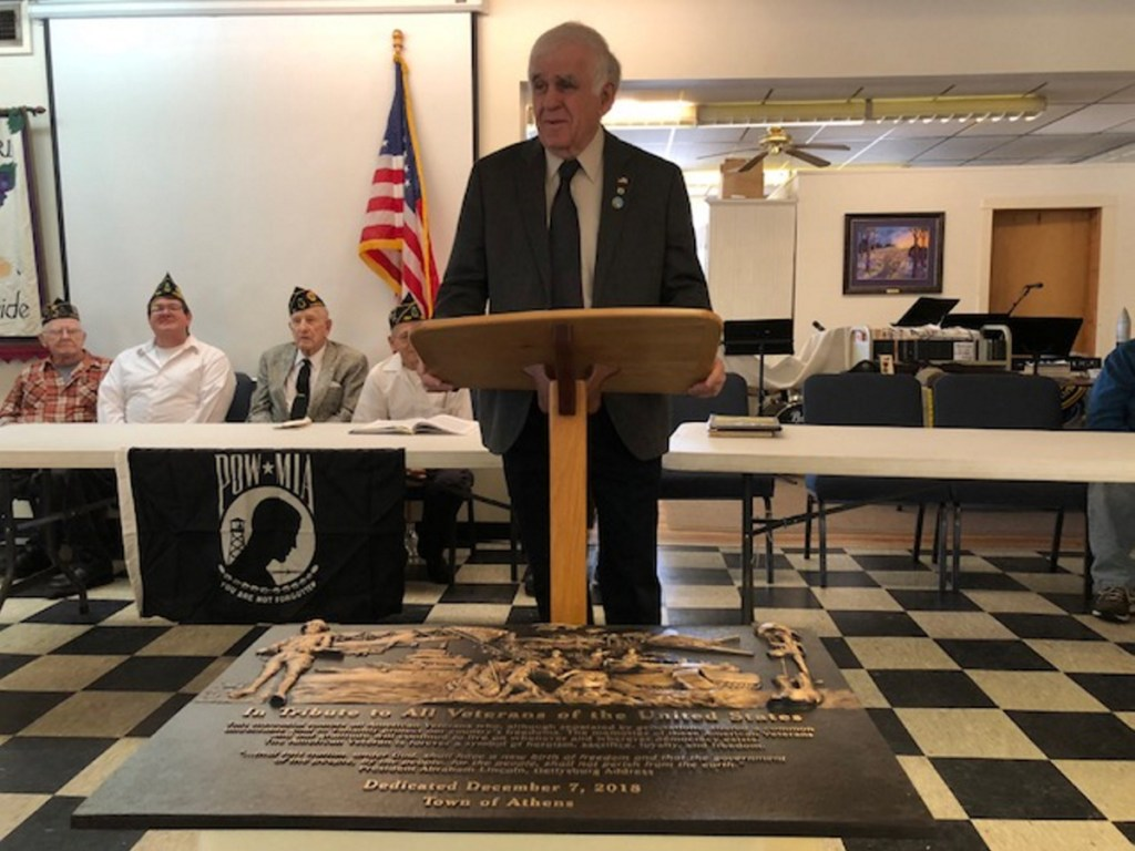 State Sen. Paul Davis, R-Sangerville, speaks about honoring military service veterans during a ceremony recently at the Athers American Legion Post 192.