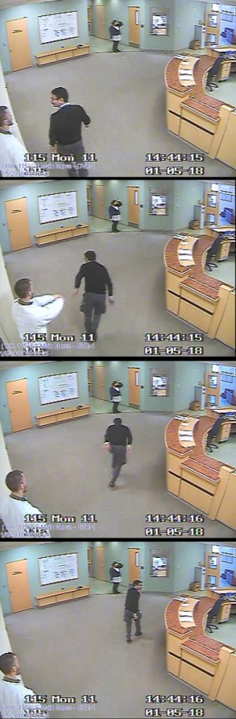 """These still shots from a footage from a video surveillance system at Riverview Psychiatric Center show the sequence in which Ahmad Khansari Nejad was shoved in the back Jan. 5 by """"Patient W"""" on the hospital's Lower Saco forensic unit. Several clips from the video were played in court."""