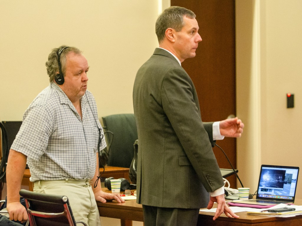 Andrew Bilodeau, left, and his attorney, Kevin Sullivan, during the opening statements of Bilodeau's manslaughter trial Wednesday at the Capital Judicial Center in Augusta.