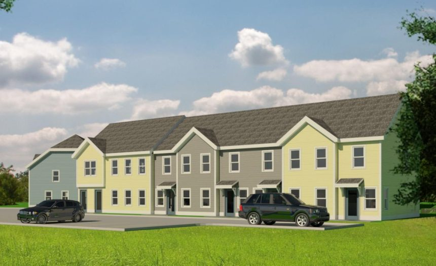 An artist's rendering shows a 29-unit apartment complex planned on a portion of the city-owned former Statler mill site in Augusta.