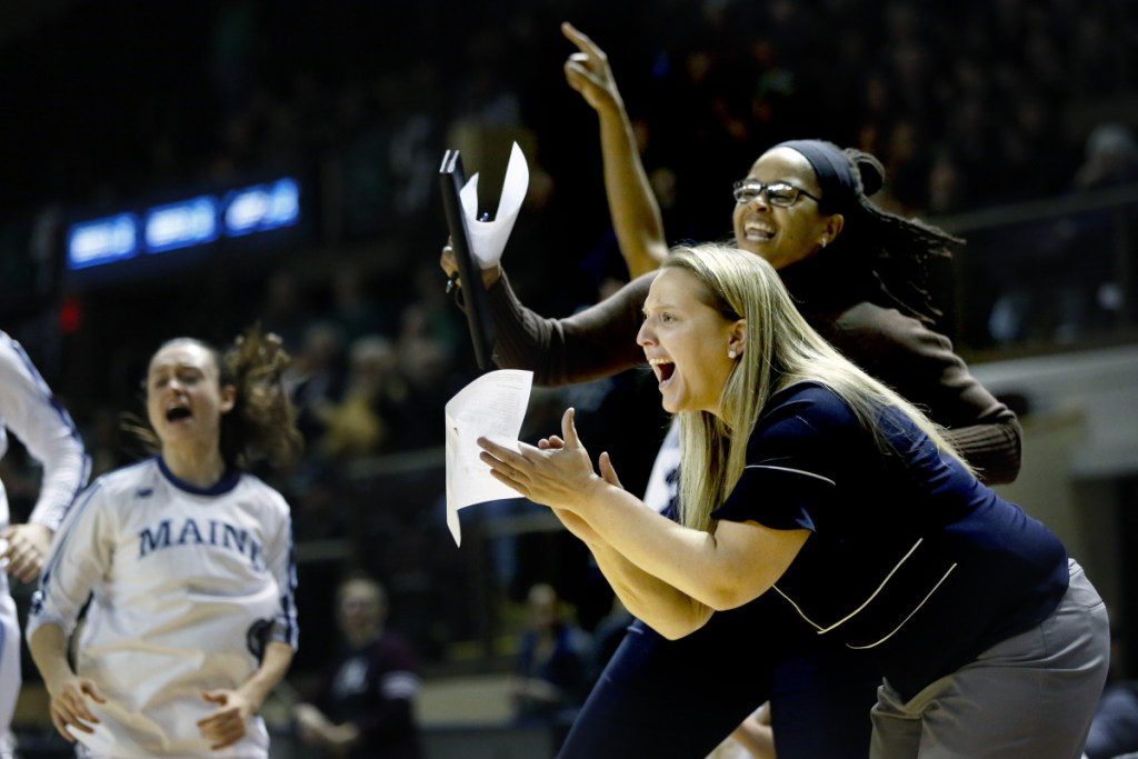 Coach Amy Vachon, right, led Maine to the NCAA tournament.