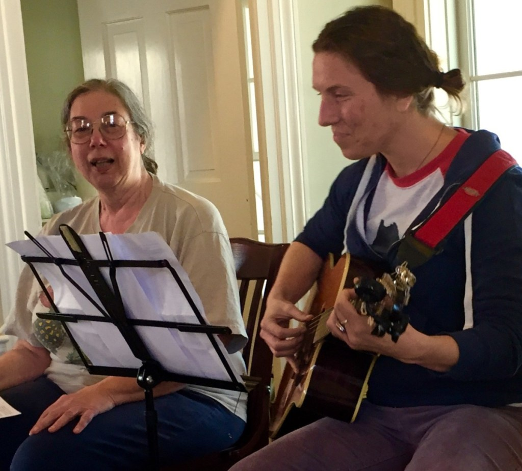 Grace Goldberg, songwriter and musician Heather Richards performing at the 2018 New Year's Day open mic and community-sing-along.