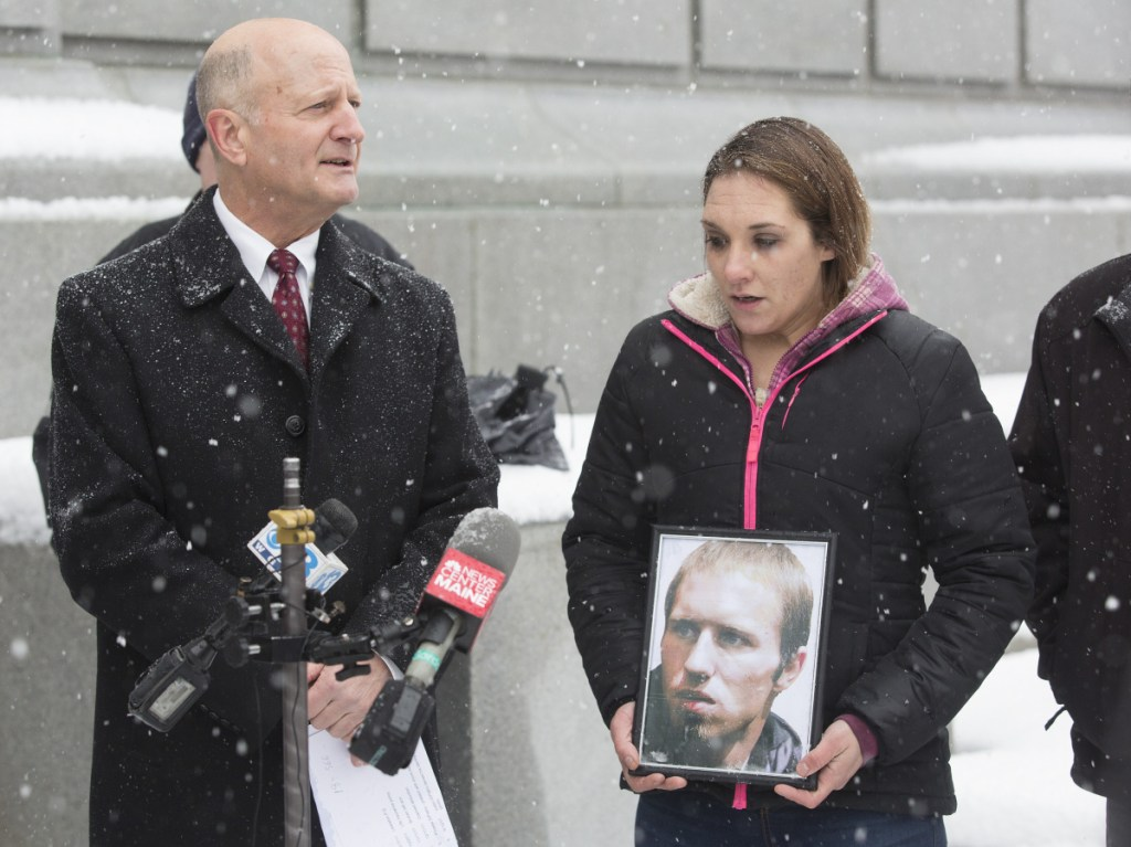 Trista Reynolds and her attorney, William Childs, hold a news conference Monday to announce a lawsuit that accuses Justin DiPietro of causing the death of Reynolds' daughter Ayla seven years ago.