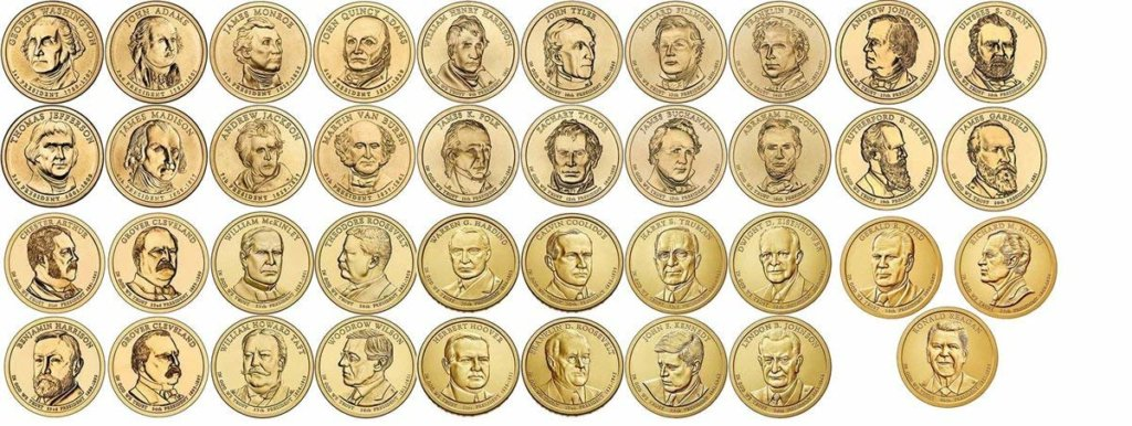 Presidential $1 coins issued by the U.S. Mint between 2007 and 2016. U.S. Rep. Bruce Poliquin, a Republican from Maine's 2nd District, is pushing to have a new one minted in 2019 to honor former President George H.W. Bush, who died recently. (Photo provided)