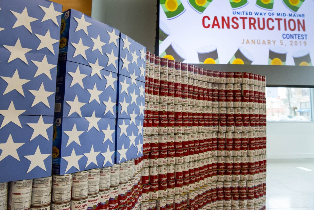 Kennebec Valley Federal Credit Union employees created this American flag out of recycled Campbell's Soup cans Saturday during the Canstruction competition at the Chace Community Forum in downtown Waterville.
