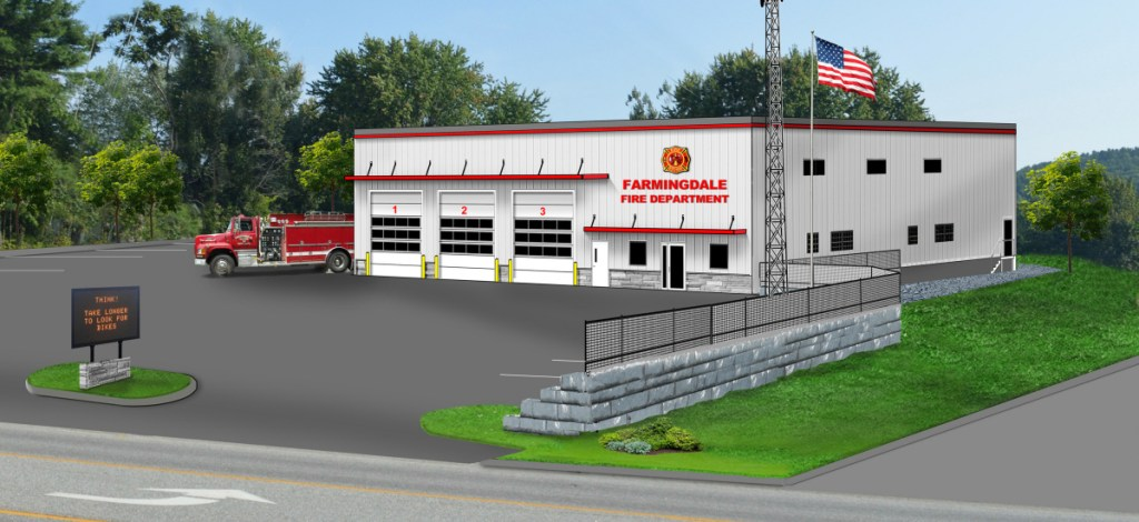 A rendering of the proposed new Farmingdale fire station.