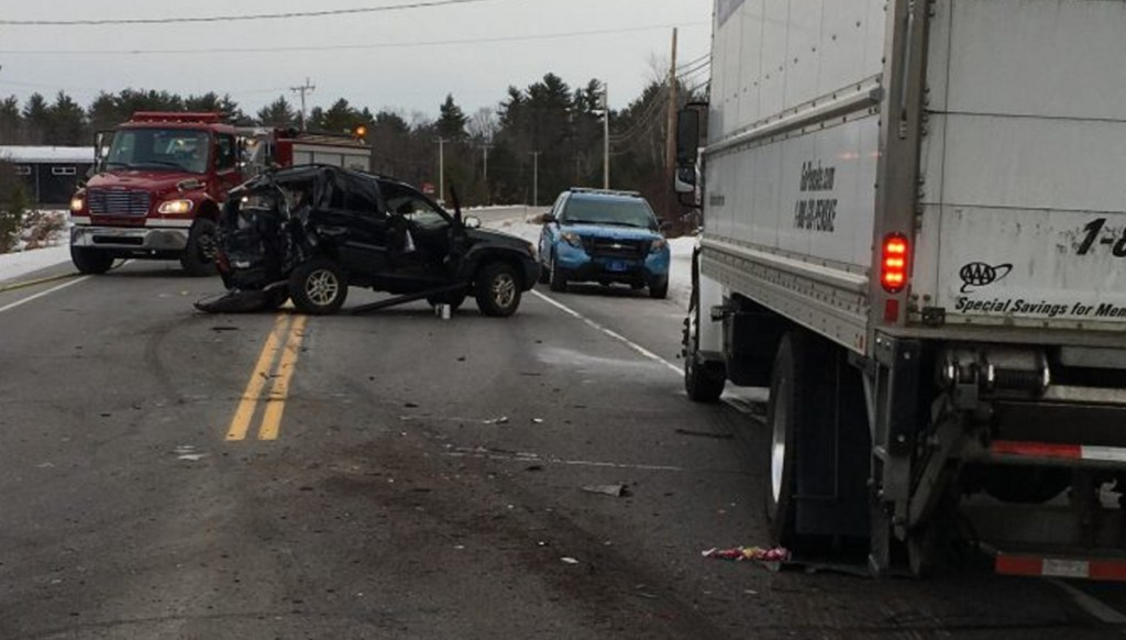 Gabrielle Kennedy was seriously injured when her mother's SUV was hit from behind by a box truck in Waterboro on Thursday. The truck driver was charged.