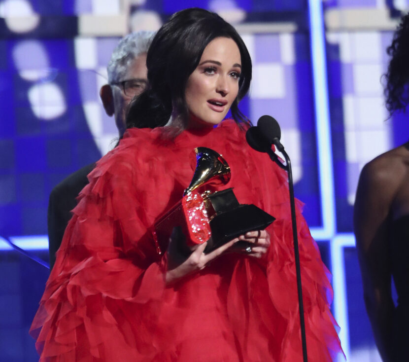 """Kacey Musgraves accepts the award for album of the year for """"Golden Hour"""" at the 61st annual Grammy Awards on Sunday in Los Angeles."""