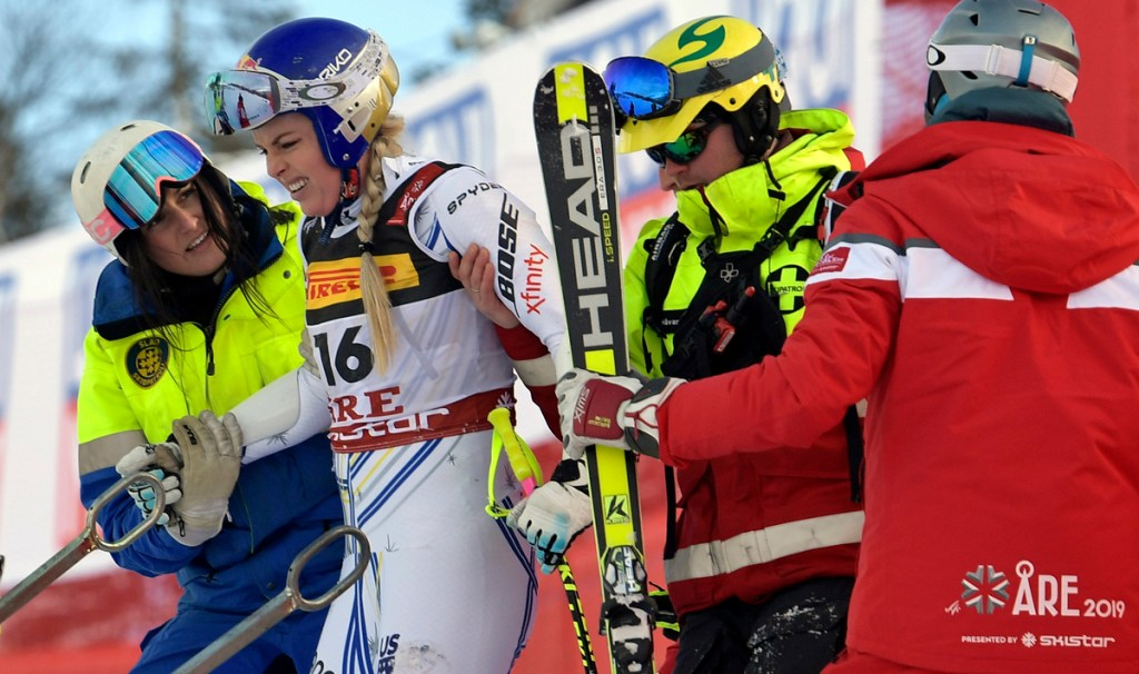 United States' Lindsey Vonn is assisted after crashing during the women's super G at the alpine ski World Championships, in Are, Sweden, on Tuesday.
