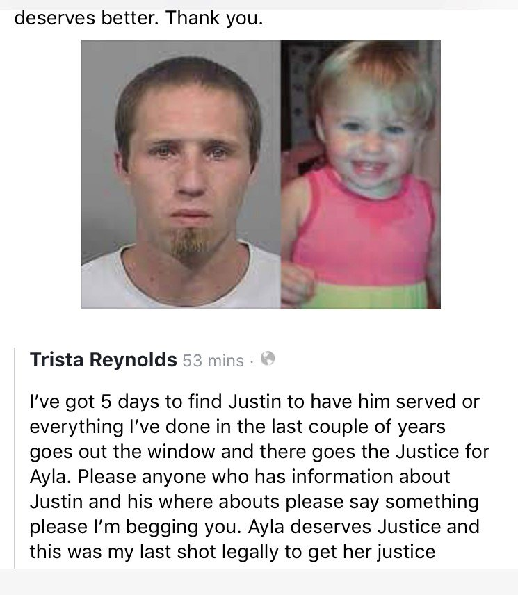 Trista Reynold's Facebook post pleading for help in locating Justin DiPietro on Tuesday.