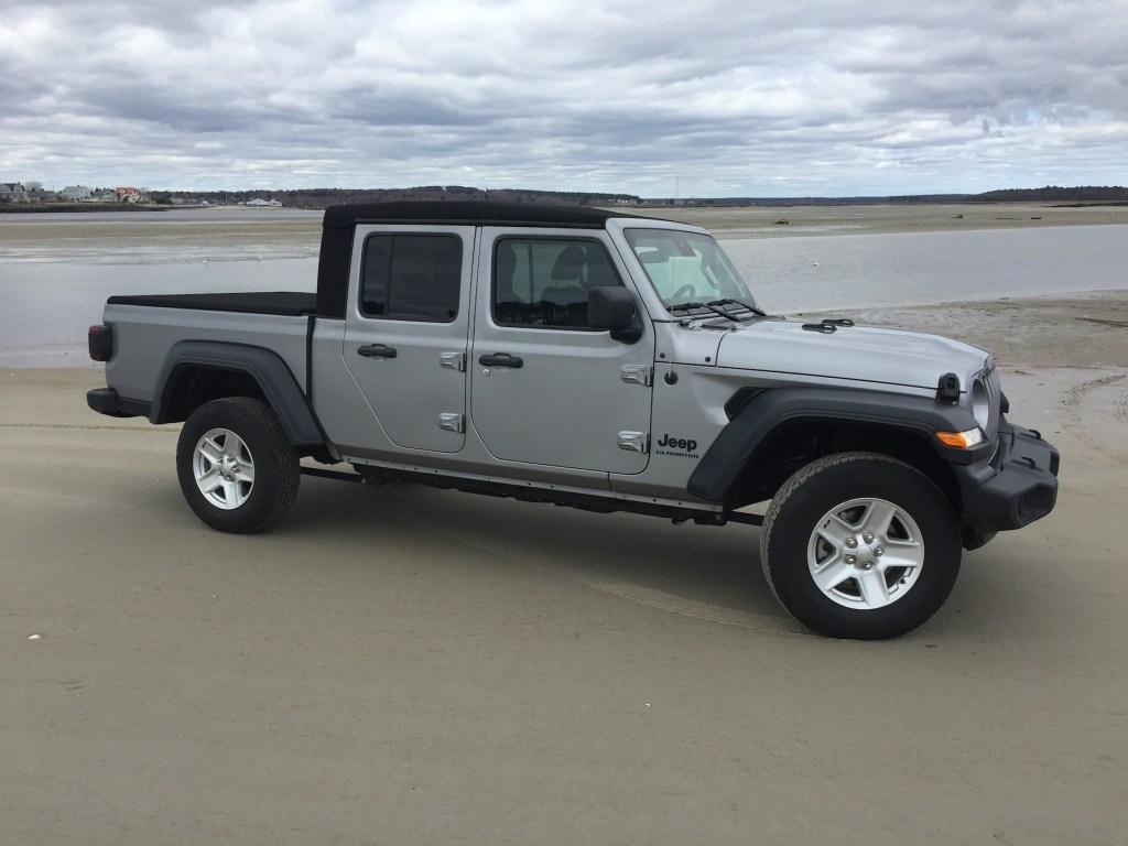 One key to the Gladiator's identity is its chassis. The wheelbase is 19.4 inches longer than the four-door Wrangler's. Photo by Tim Plouff. Location: Ferry Beach, Scarborough.