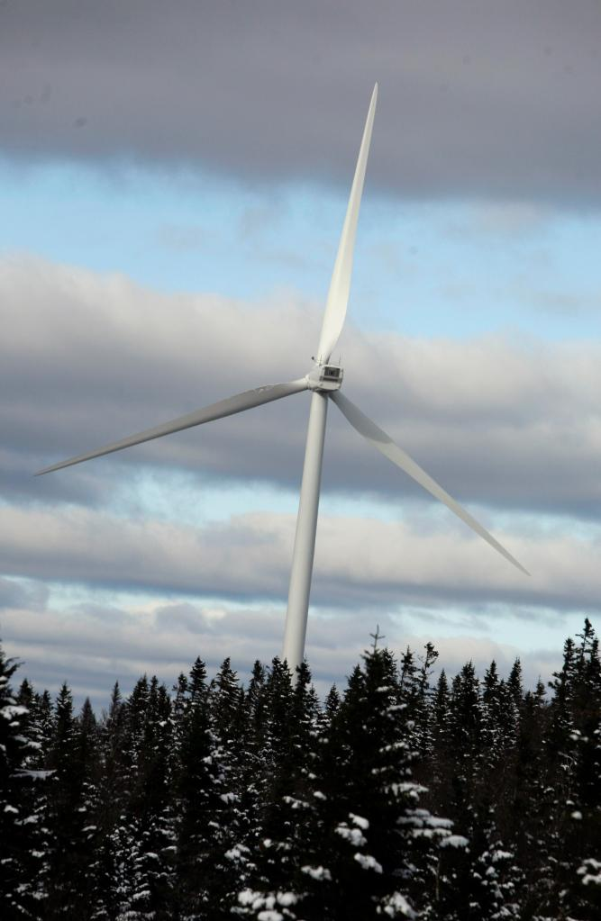 A wind turbine on Kibby Mountain is an example of what's in store across a wider area, a trend some Mainers deplore.