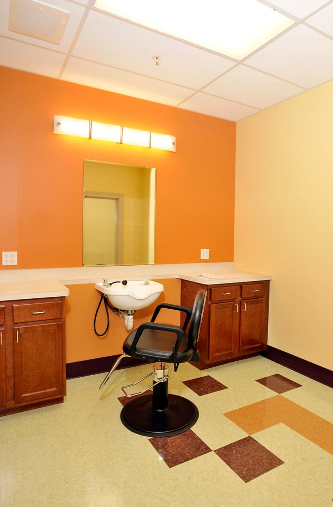 The basement at Florence House has a hair salon for visiting hairdressers to make house calls.