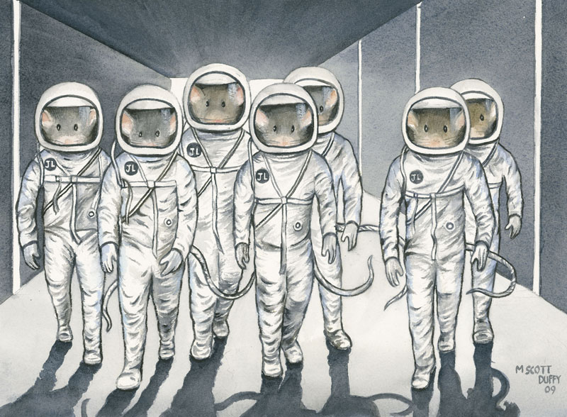 "A tongue-in-cheek illustration created by artist M. Scott Duffy for The Jackson Laboratory imagines mice as characters in ""The Right Stuff."" The real mice on the Space Shuttle Discovery aren't wearing space suits, but they will help scientists conduct important experiments on the effect of zero gravity on the immune system."