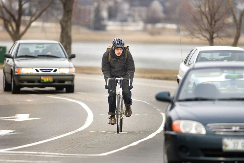 """Bike lanes such as this one at the corner of Baxter Boulevard and Preble Street Extension let Portland get """"more out of the infrastructure we have,"""" says the leader of the city's Bicycle and Pedestrian Advisory Committee."""